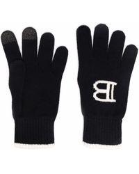 Balmain Tactile Intarsia Knitted Gloves - Black