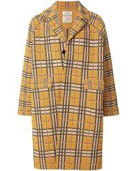 Coohem Karierter Tweed-Mantel - Gelb
