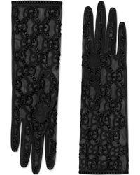 Gucci Перчатки Из Тюля С Узором GG - Черный