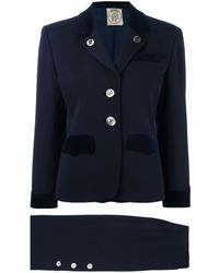 Hermès Pre-owned Buttoned Skirt Suit - Blue