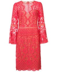 Tadashi Shoji - Lace Embroidered Midi Dress - Lyst