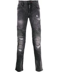 Philipp Plein Biker Destroyed Motox Denim Jeans - Grey