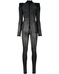 David Koma Houndstooth Print Jersey Catsuit - Black