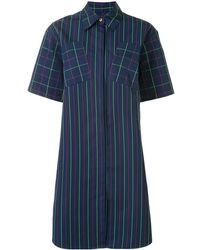 PORTSPURE Mixed-pattern Shirt Dress - Blue