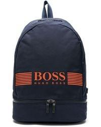 BOSS by Hugo Boss プリント ロゴ バックパック - ブルー