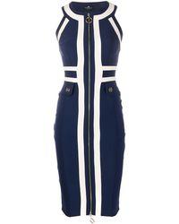 Elisabetta Franchi Vestido a paneles con diseño de dos tonos - Azul