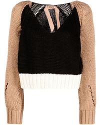 N°21 カラーブロック セーター - ブラック
