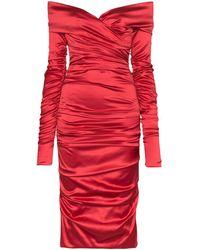 Dolce & Gabbana Satijnen Jurk - Rood
