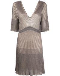 Twin Set Ribbed Knit Mini Dress - Grey