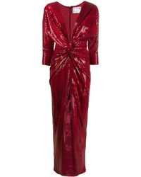In the mood for love Oscar Knotted Sequin-embellished Gown - Red