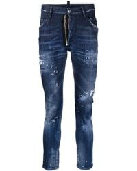DSquared² Slim-Fit-Jeans im Distressed-Look - Blau