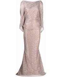 Talbot Runhof メタリック イブニングドレス - ピンク