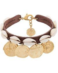 Ancient Greek Sandals Bracelet de cheville à breloques - Marron