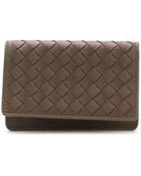 Bottega Veneta イントレチャート フラップ財布 - ブラウン