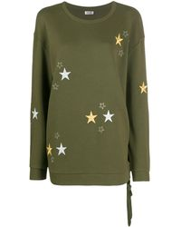 Liu Jo Star-details Lace-side Sweatshirt - Green