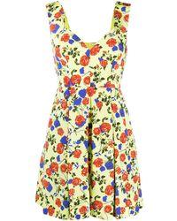 Emilia Wickstead Silk Floral Flared Mini Dress - Yellow