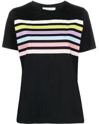 Chinti & Parker Rainbow Stripe Print T-shirt - Black