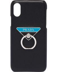 Prada Funda para iPhone X/XS con anilla - Negro