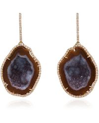 Kimberly Mcdonald - Red Gold Drop Earrings With Red And Purple Geode And Diamond Bezel - Lyst