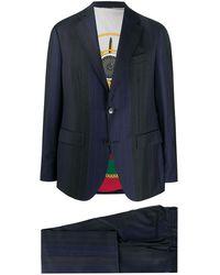 Etro ストライプ ツーピーススーツ - ブルー