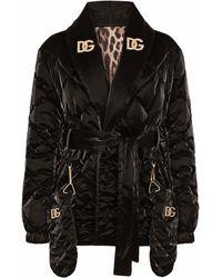 Dolce & Gabbana Стеганая Куртка С Логотипом - Черный