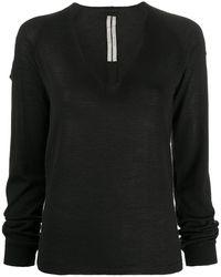 Rick Owens Fine-kit V-neck Top - Black