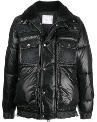 Sacai デニムディテール パデッドジャケット - ブラック