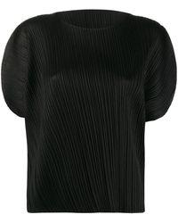 Pleats Please Issey Miyake Blusa plisada con detalle de aberturas - Negro
