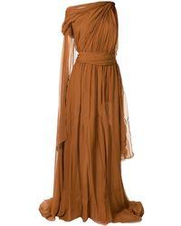 Dundas ドレープ ワンショルダードレス - ブラウン