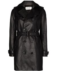 Saint Laurent Double-breasted Leather Trench Coat - Black