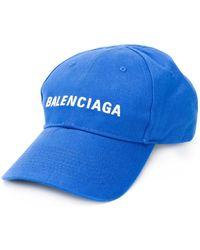 Balenciaga Embroidered Logo Baseball Hat - Blue