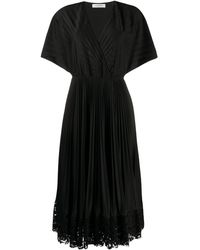 Valentino プリーツ ラップドレス - ブラック