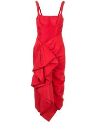 Rosie Assoulin ラッフル ドレス - レッド