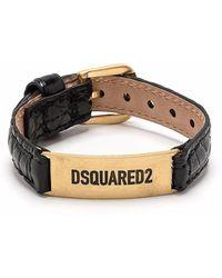 DSquared² ロゴ レザー ブレスレット - ブラック