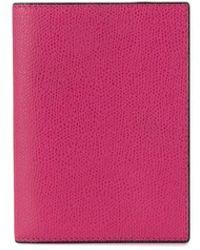 Valextra Grained-effect Passport Holder - Pink