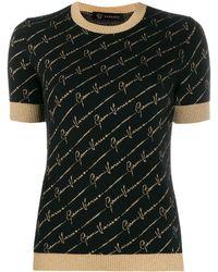 Versace Трикотажный Топ С Логотипом - Черный