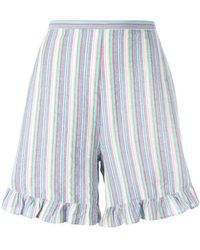 See By Chloé - Striped Flared-hem Shorts - Lyst
