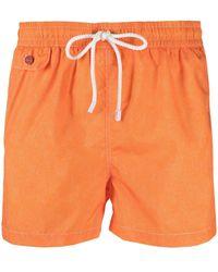 Kiton Embroidered Logo Swim Shorts - Orange