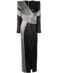 Balmain Vestido largo con lentejuelas - Negro