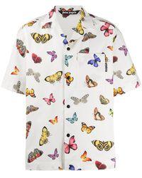 Palm Angels Butterflies Bowling Shirt - White