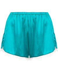 Fleur du Mal Lace Trim Tap Shorts - Blue