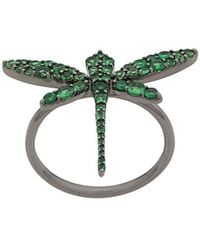 Anapsara 18kt Rhodium Plated White Gold Dragonfly Ring - Multicolour