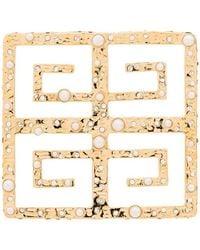 Givenchy Broche 4G à détails de perles - Métallisé