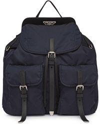 Prada Nylon And Saffiano Leather Backpack - Blue
