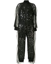 Sacai スパンコール ジャンプスーツ - ブラック