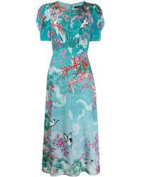 Saloni フローラル ドレス - ブルー