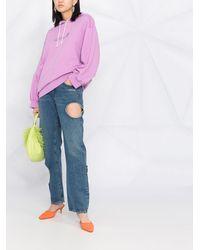 MSGM Худи С Графичным Принтом И Кулиской - Пурпурный
