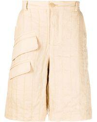 Jacquemus Tonal-stripe Cargo Shorts - Natural