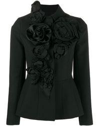 Dice Kayek Rose Appliqué Jacket - Black