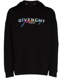 Givenchy Rainbow Logo Cotton Hoodie - Black